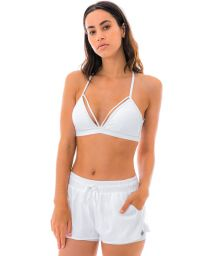 White fitness bra with multiple straps - TOP LIGHT ROLETE BRANCO