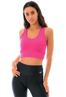 Flashy pink fitness crop top with laced back - TOP LIGHT ROLETE COS ROSA