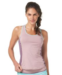 Two-toned mauve racer-back fitness vest top - TOP RUNNING