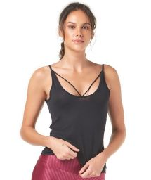 Black workout tank top with strappy detail - TOP SHEER COM RELETE
