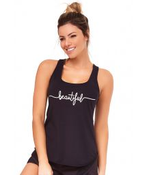 Black fitness tank top with inscriptions - TOP SILK INSPIRACIONAIS