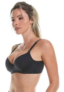Adjustable black fitness bra with strappy detail - TOP SPORT FLEECE