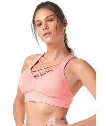 Pale pink sports crop top with strappy neckline - TOP TIRAS CRUZADAS