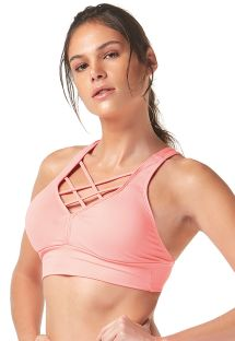 Pale pink sports crop top with strappy neckline - TOP TIRAS CRUZADAS