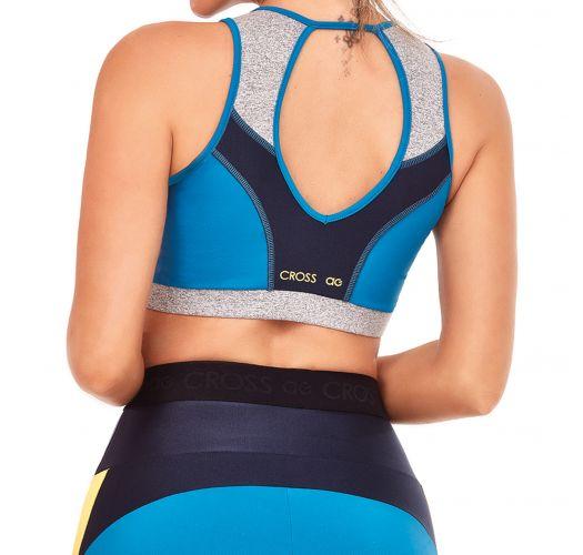 Brassière sport tricolore bleue dos ouvert - TOP TRES CORES