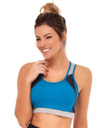 Blue and black fitness top / bra - TOP TRES CORES