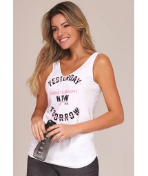 White fitness tank top with black and pink inscriptions - TOP YESTERDAY