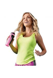 Selvlysende gul fitness top med racerback - VERSALHES AMARELO FUN