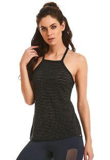 Blusa de natação/fitness preta c/ efeito lurex - REGATA SHINE