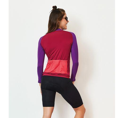 Sport-T-Shirt, dreifarbig, mit Taschen auf dem Rücken - TOP MANGA LONGA BIKE