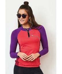 Trefärgad sport t-shirt med bakfickor - TOP MANGA LONGA BIKE