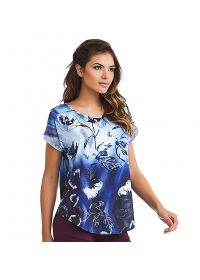 Blue gradient floral sport t-shirt - TOP NZ ELETRIC
