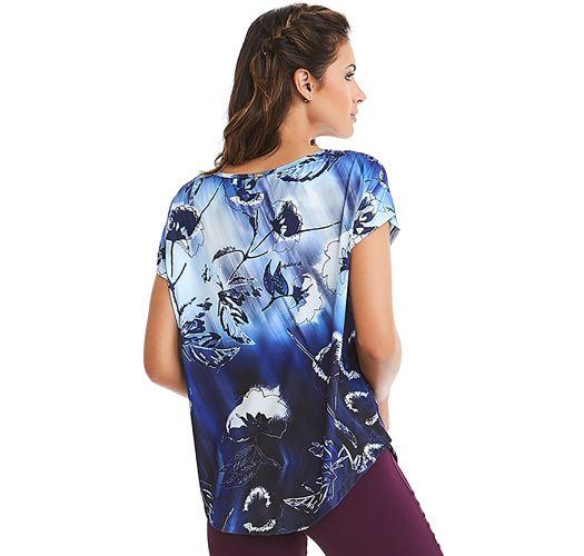 Blue gradient floral sport t-shirt - TOP NZ ELETRIC