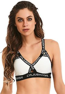 Fitness bra top in white and black - TOP ROCK SHINE