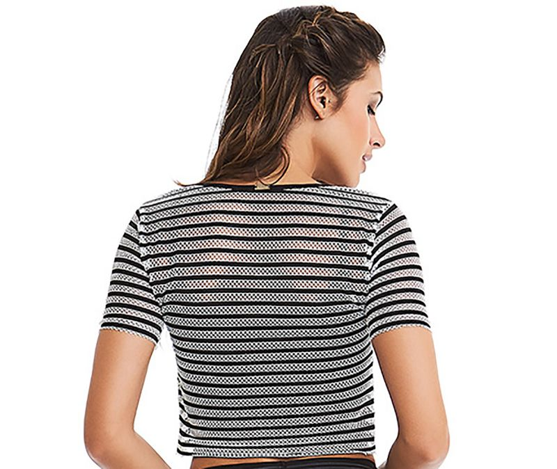 Strpipped black & white fitness top - TOP SEA