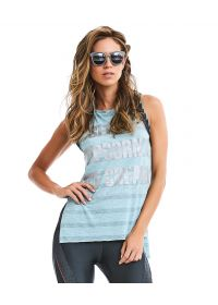 Light blue fitness top with silver print - TOP STAY ACTIVE