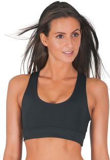 Print cross back black sport bra - TOP CONEJOS