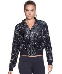 Black print reversible velvet bomber jacket - EIGHT TRACK REVERSE ONYX