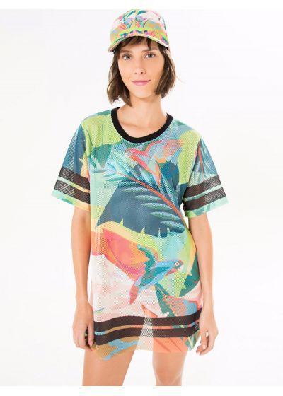 Sport t-shirt med färggrant tropiskt tryck - T-SHIRT GALEGO