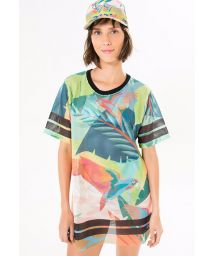 Sports T-shirt with colourful tropical print- T-SHIRT GALEGO