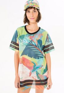 Sports T-shirt with colourful tropical print - T-SHIRT GALEGO