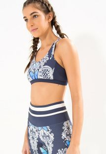 Navy blue fitness sports bra with a pattern of butterflies - TOP DUPLO BORBOMAR