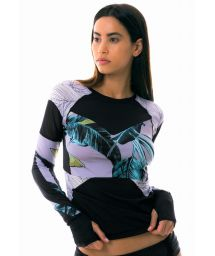 Two-material long sleeve fitness top - ASSEMBLE PRINTED TROPIC