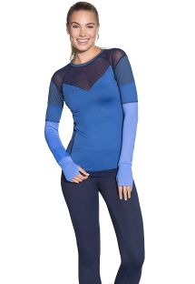 Long-sleeved dual-material sports T-shirt - ASSEMBLE SAPPHIRE