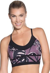 Reversible printed two-tone fitness crop top - CHARMED LEAF