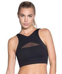 Black reversible cross back fitness crop top - INERTIA BLACK EMANA