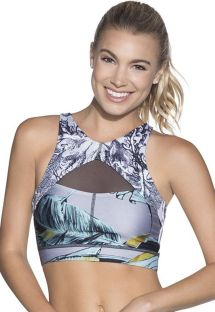 Reversible printed workout crop top with lace-up back - INERTIA TROPIC EMANA