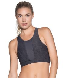 Reversible gray printed workout crop top - RADIANT SPACE DYE PEBBLE
