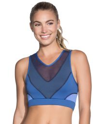 Blue tulle back reversible fitness crop top - SPRING SPROUT SAPPHIRE