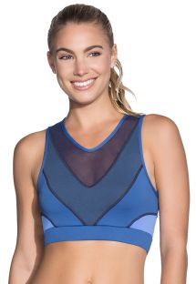 Crop top fitness bleu réversible dos tulle - SPRING SPROUT SAPPHIRE