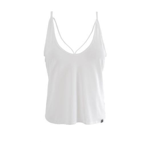 White fitness top with deep backline - REGATA SHEER COM RELETE BRANCO