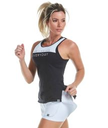 Black & white women's tank top with message - REGATA SKIN FIT RECORTES E SILK