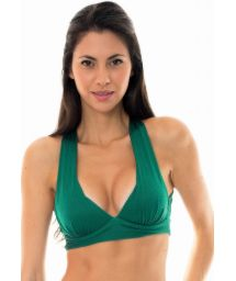 Green textured fitness bra top with crossed back - DUNA GREEN TOP FITNESS