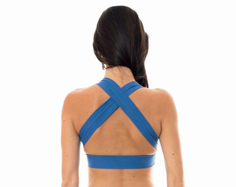 Denim blueworkout sports bra with crossover back - NZ ALPES TOP FITNESS