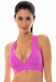 Pink workout sports bra with crossover back - NZ GLAM TOP FITNESS