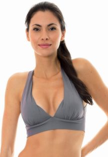 Grey workout sports bra with crossover back - NZ GRIS TOP FITNESS