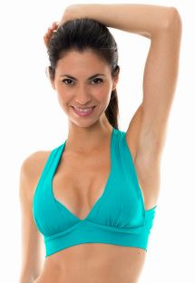 Turquoise workout sports bra with crossover back - NZ NANAI TOP FITNESS