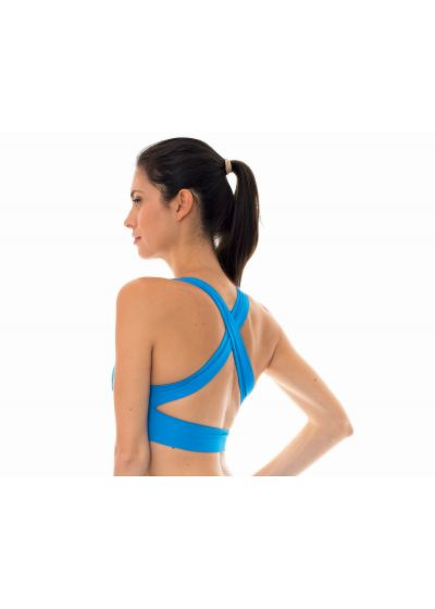 Blue workout sports bra with crossover back - NZ RESORT TOP FITNESS