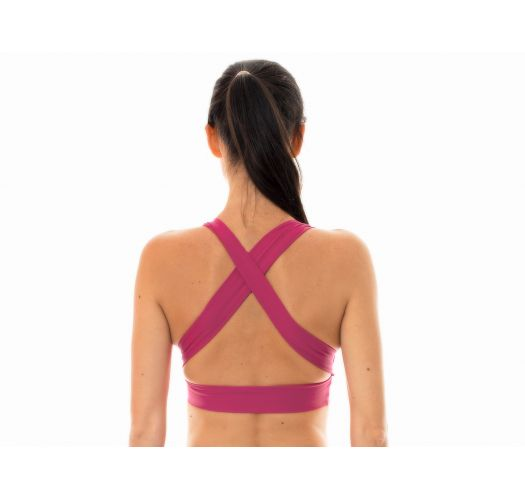 Deep pinkworkout sports bra with crossover back - NZ VITAMINA TOP FITNESS