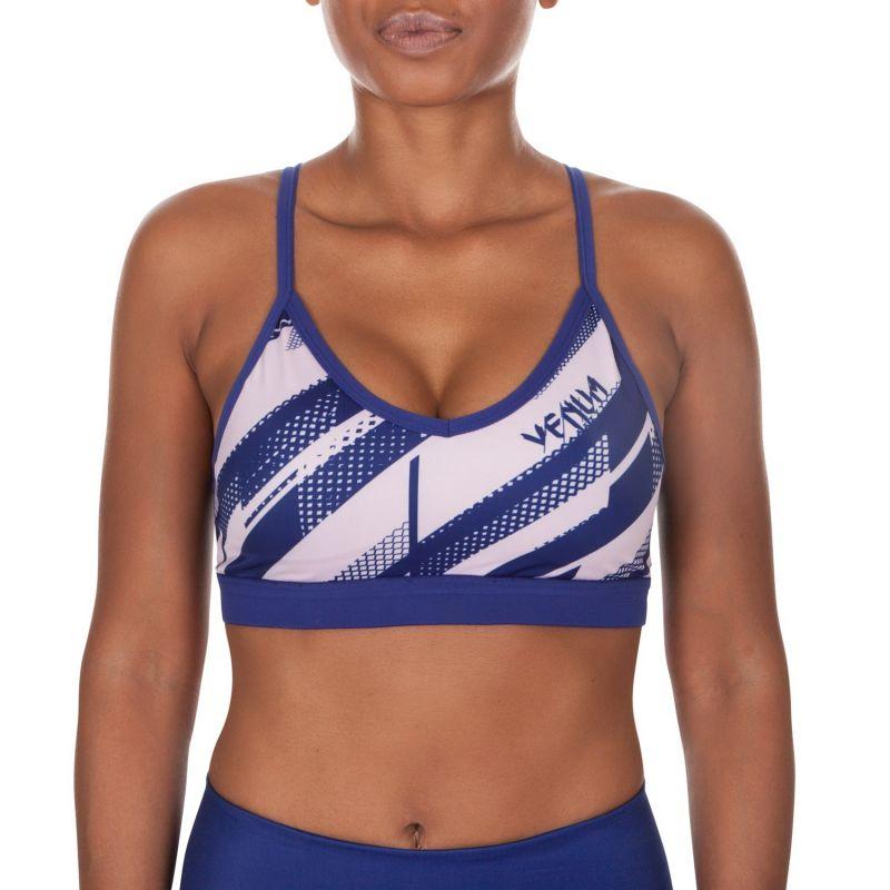 Blue/white geometric print sports bra - RAPID SPORT BRA NAVY