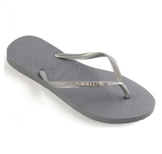 6b7e168b001c1 Flip-Flops Slim Metal Logo And Crystal Steel Grey-bright Silver