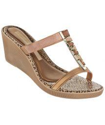 Flip-Flops - Jewel Plat Fem Beige/Gold