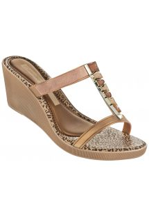 Chanclas - Jewel Plat Fem Beige/Gold