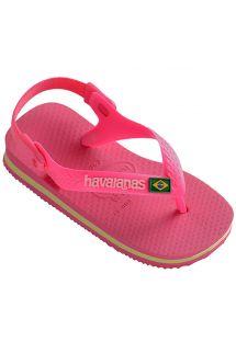 Lyserøde sandal-klip-klappere fra Havaianas til babyer - Baby Brasil Logo Shocking Pink