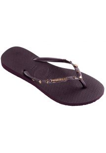 Aubergine teenslippers met speelkaartdecoraties - Slim Hardware Aubergine Metallic