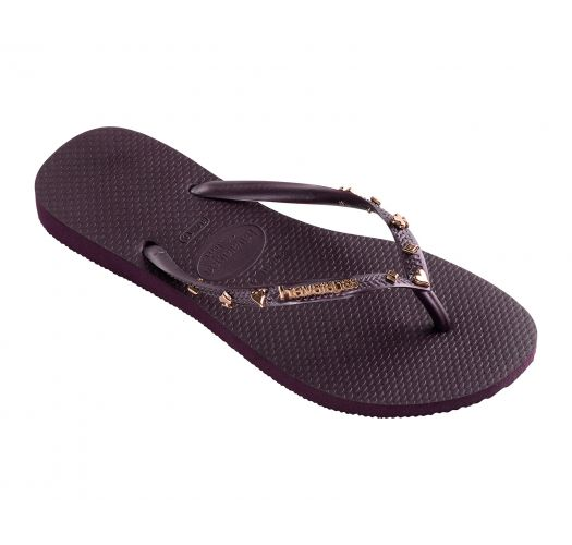 Aubergine flip-flops with playing card decorations - Slim Hardware Aubergine Metallic